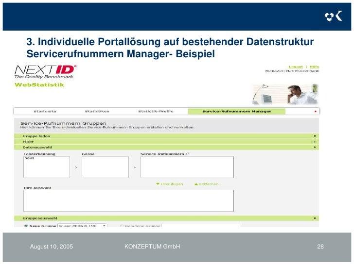 3. Individuelle Portallösung auf bestehender Datenstruktur<br />KONZEPTUM GmbH<br />25<br />