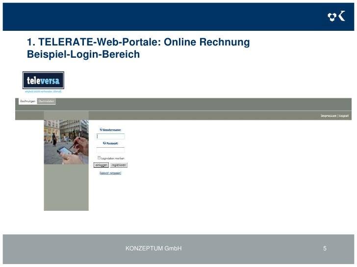 1. TELERATE-Web-Portale: Online RechnungBeispiel-Login-Bereich<br />KONZEPTUM GmbH<br />5<br />
