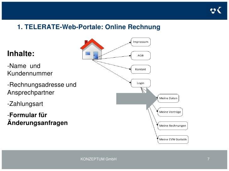 1. TELERATE-Web-Portale: Online Rechnung<br />KONZEPTUM GmbH<br />7<br />Inhalte:<br /><ul><li>Name  und Kundennummer