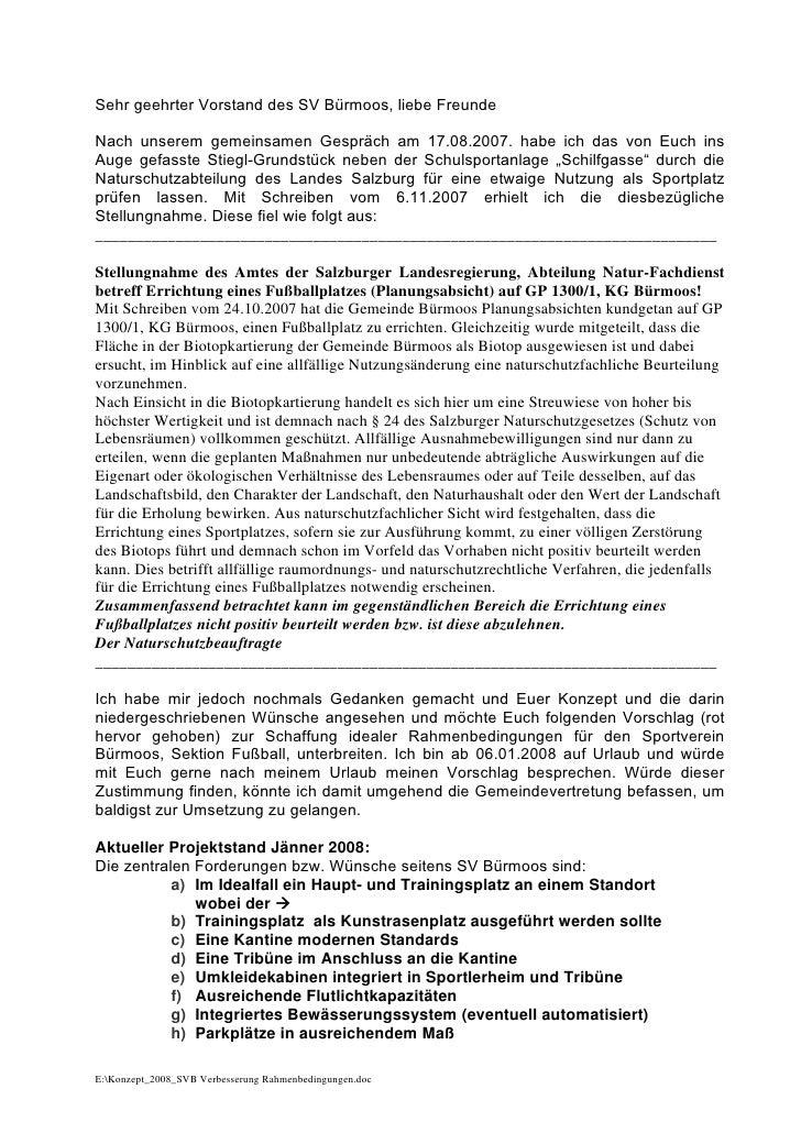 Bürgermeister Seeleithner: Konzeptvorschlag 2008 SVB - Verbesserung rahmenbedingungen