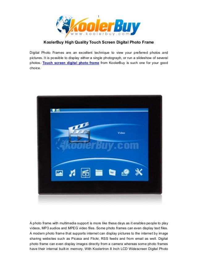 Koolerbuy High Quality Touch Screen Digital Photo Frame