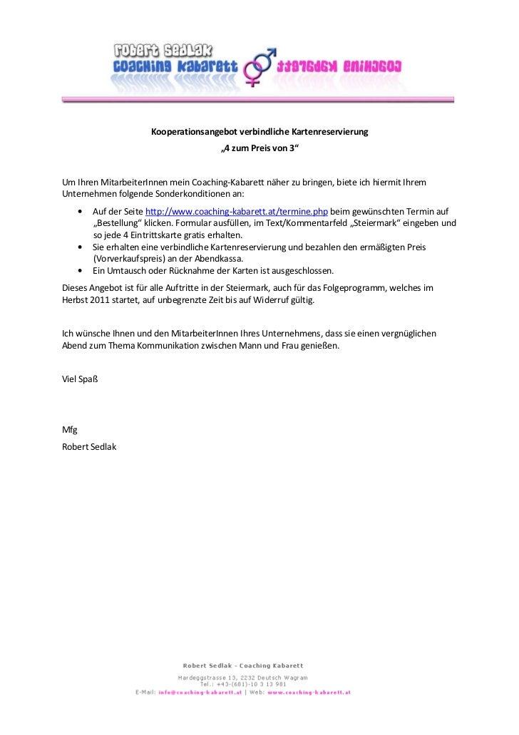 """Kooperationsangebot verbindliche Kartenreservierung                                        """"4 zum Preis von 3""""Um Ihren Mit..."""