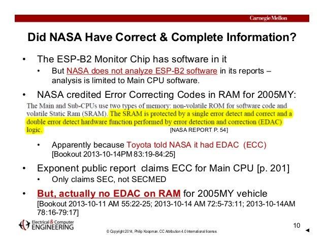 © Copyright 2014, Philip Koopman. CC Attribution 4.0 International license. Did NASA Have Correct & Complete Information? ...