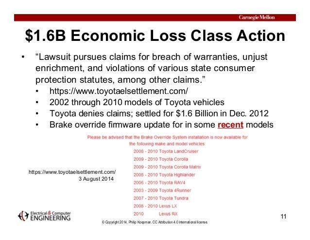 "© Copyright 2014, Philip Koopman. CC Attribution 4.0 International license. $1.6B Economic Loss Class Action • ""Lawsuit pu..."