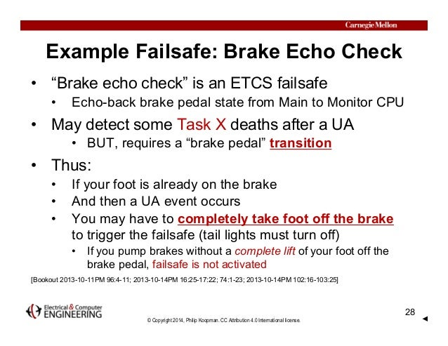 "© Copyright 2014, Philip Koopman. CC Attribution 4.0 International license. Example Failsafe: Brake Echo Check • ""Brake ec..."