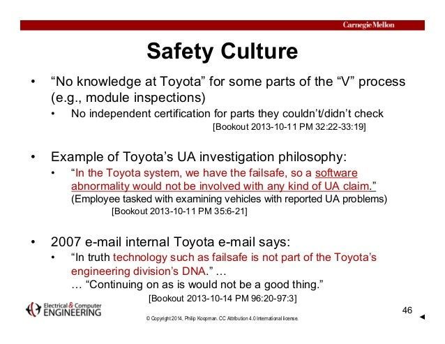 """© Copyright 2014, Philip Koopman. CC Attribution 4.0 International license. Safety Culture • """"No knowledge at Toyota"""" for ..."""