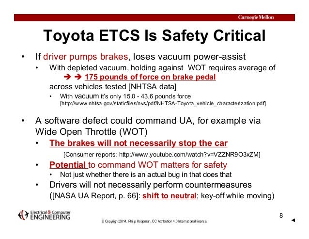 © Copyright 2014, Philip Koopman. CC Attribution 4.0 International license. Toyota ETCS Is Safety Critical • If driver pum...