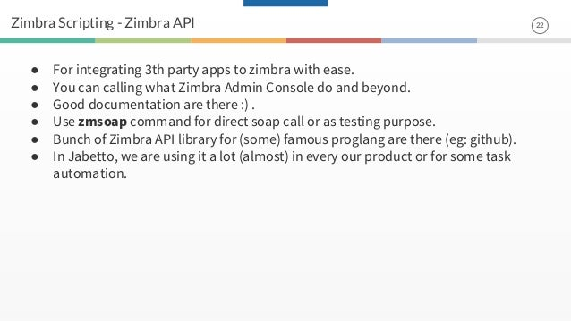Zimbra scripting with python