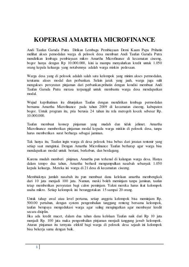 Microfinance 1 Notes: Koperasi Amartha Microfinance