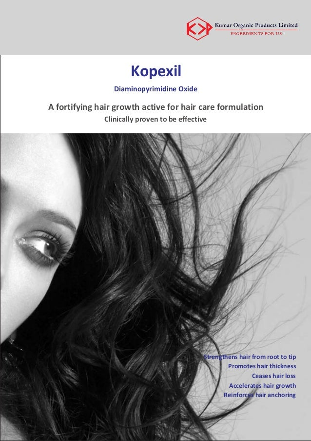 Kopexil Diaminopyrimidine Oxide A fortifying hair growth active for hair care formulation Clinically proven to be effectiv...