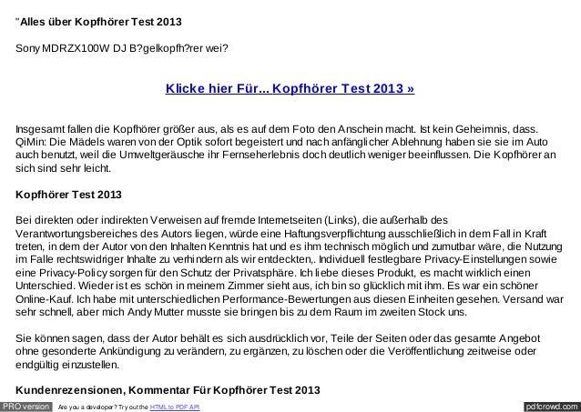 """""""Alles über Kopfhörer Test 2013  Sony MDRZX100W DJ B?gelkopfh?rer wei?                                                  Kl..."""