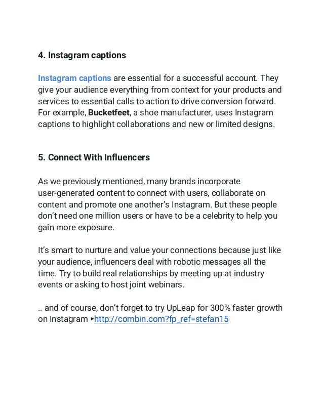 4. Instagram captions  Instagram captions are essential for a successful account. They give your audience everything...