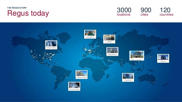 THE REGUS STORY Regus today 3000 locations 900 cities 120 countries Singapore