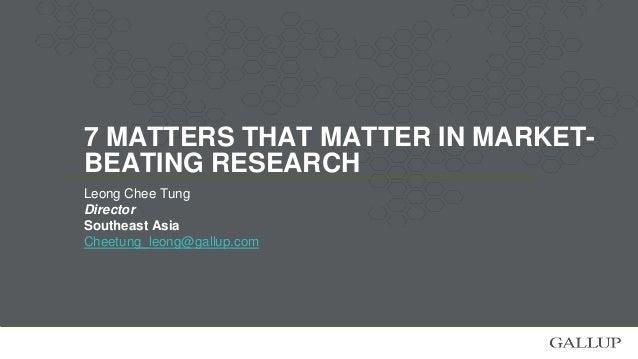 7. Methodology Matters: - Beware & control for biases