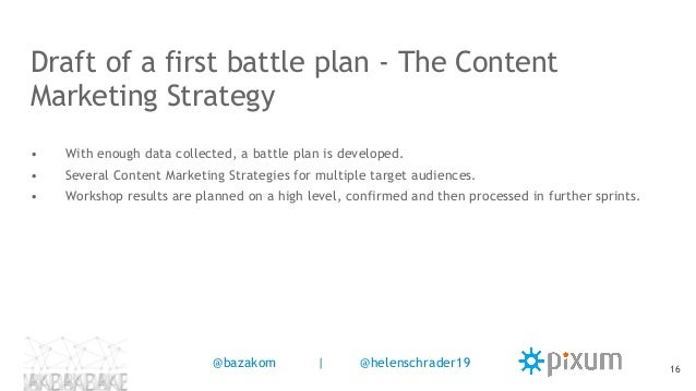 • With enough data collected, a battle plan is developed. • Several Content Marketing Strategies for multiple target audie...
