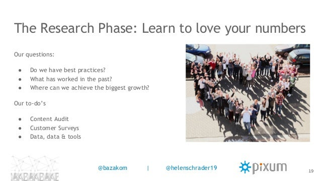 The Research Phase: Learn to love your numbers Our questions: ● Do we have best practices? ● What has worked in the past? ...