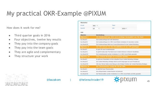 My practical OKR-Example @PIXUM How does it work for me? ● Third quarter goals in 2016 ● Four objectives, twelve key resul...