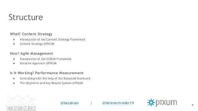 Structure What? Content Strategy ● Introduction of the Content Strategy Framework ● Content Strategy @PIXUM How? Agile Man...
