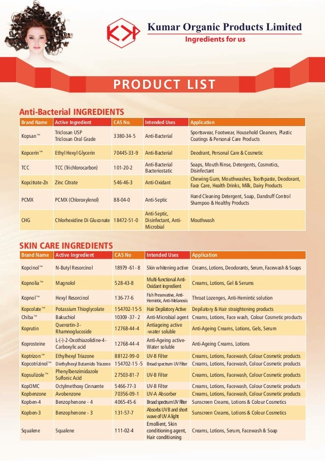 Personal Care Product Ingredients - Kumar Organic Products