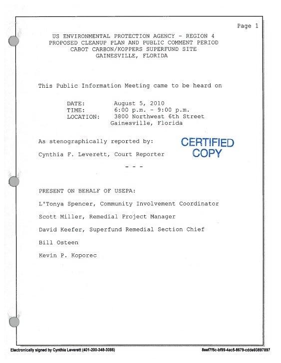 Koppers proposed plan transcript 8 5  2010