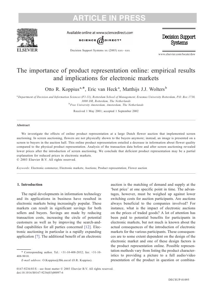 ARTICLE IN PRESS                                              Decision Support Systems xx (2003) xxx – xxx                ...