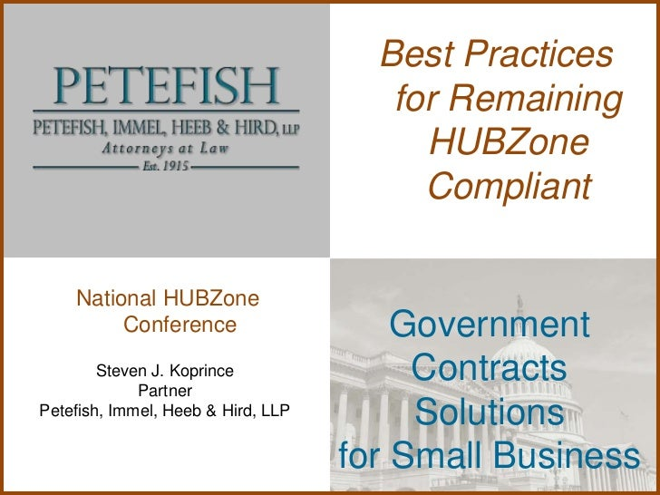 Best Practices                                       for Remaining                                         HUBZone        ...