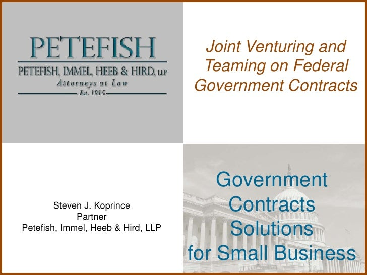 Joint Venturing and                                     Teaming on Federal                                    Government C...