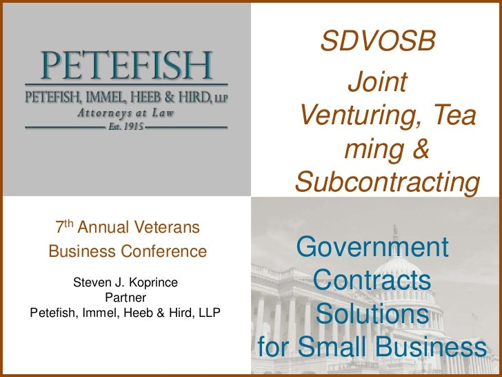 SDVOSB                                         Joint                                      Venturing, Tea                  ...