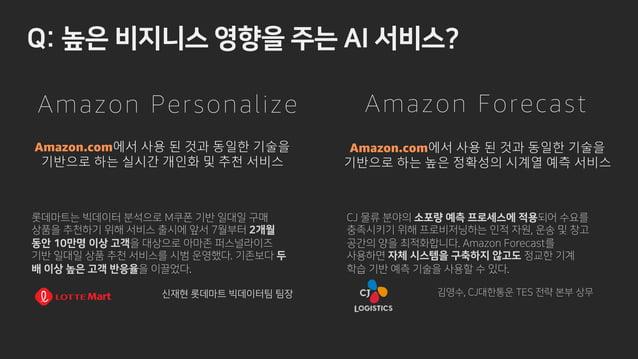 - v z x . Amazon.com에서 사용 된 것과 동일한 기술을 기반으로 하는 높은 정확성의 시계열 예측 서비스 Amazon.com에서 사용 된 것과 동일한 기술을 기반으로 하는 실시간 개인화 및 추천 서비스 Am...