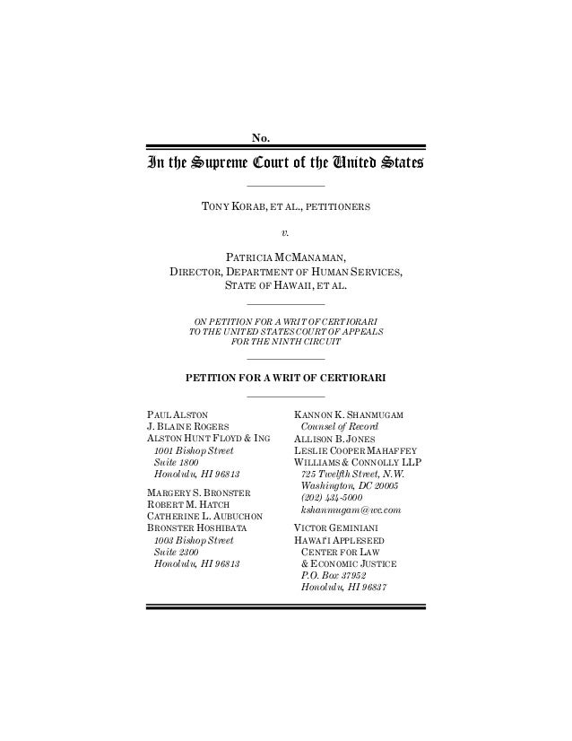nO.  iN THE sUPREME ¢OURT OF THE UNITED sTATES  tonffi Korab, et al., Petitioners  V.  Patri¢ia m¢manaman,  dire¢tor, dePa...