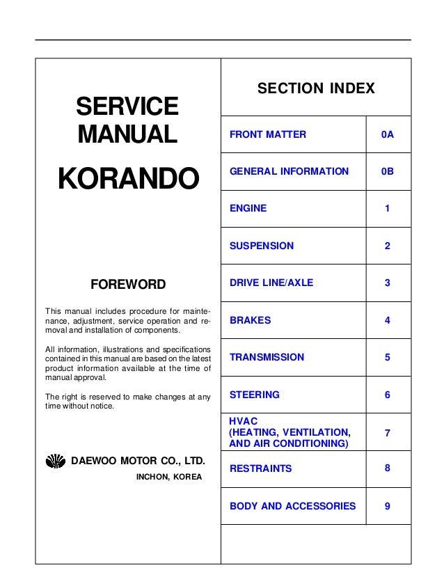 manual sanyong korando rh slideshare net ssangyong korando repair manual Tractor Service Manuals