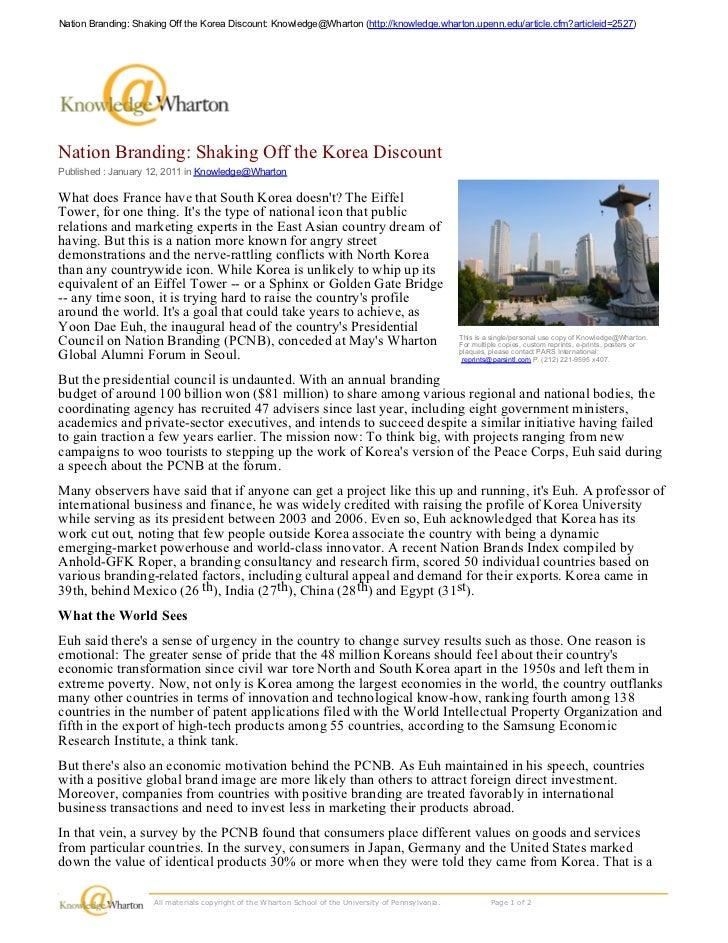 Nation Branding: Shaking Off the Korea Discount: Knowledge@Wharton (http://knowledge.wharton.upenn.edu/article.cfm?article...