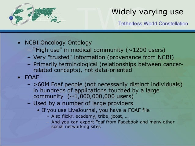 """Tetherless World Constellation Widely varying use • NCBI Oncology Ontology – """"High use"""" in medical community (~1200 users)..."""