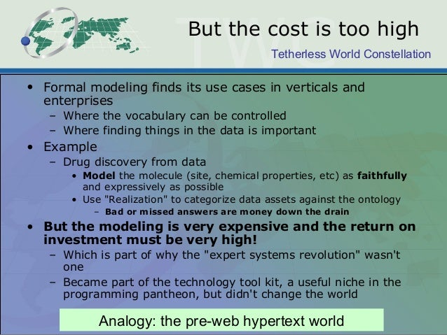 Tetherless World Constellation But the cost is too high • Formal modeling finds its use cases in verticals and enterprises...