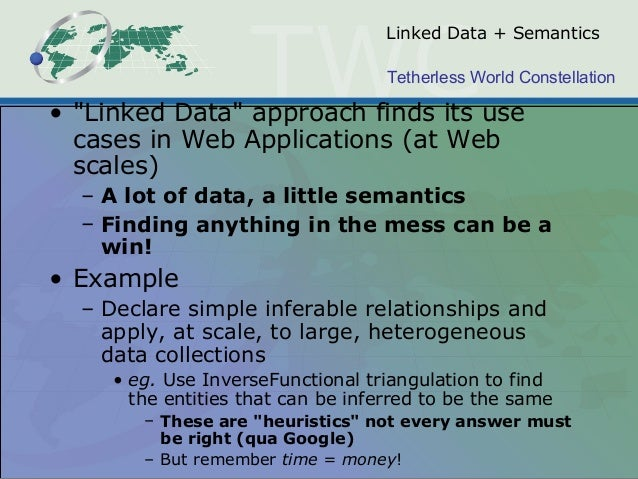 """Tetherless World Constellation Linked Data + Semantics • """"Linked Data"""" approach finds its use cases in Web Applications (a..."""
