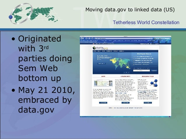 Tetherless World Constellation Moving data.gov to linked data (US) • Originated with 3rd parties doing Sem Web bottom up •...