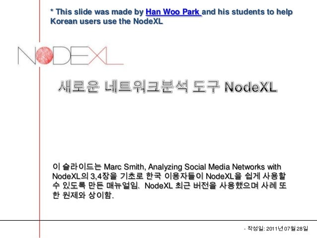 * This slide was made by Han Woo Park and his students to helpKorean users use the NodeXL이 슬라이드는 Marc Smith, Analyzing Soc...