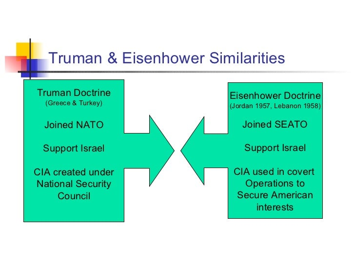 eisenhower vs truman Eisenhower doctrine was announced by dwight d eisenhower, and truman doctrine was announced by harry s.