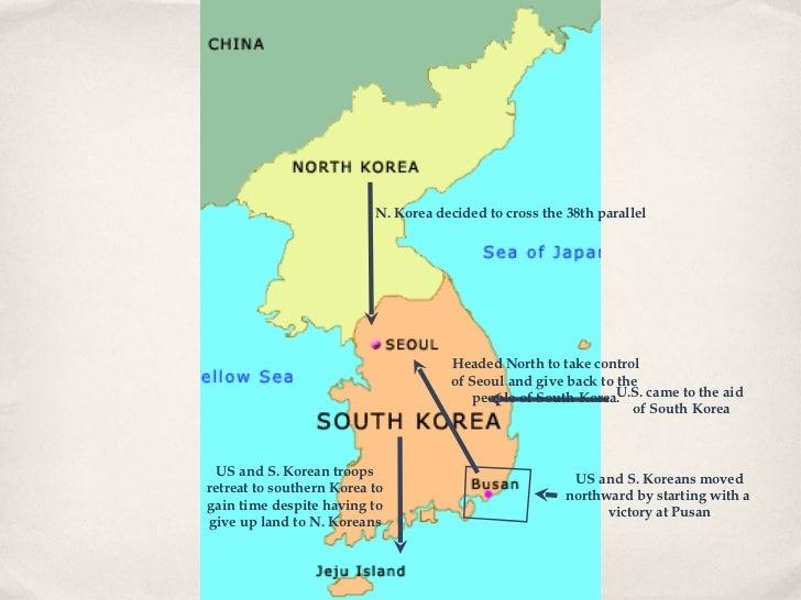Korean War Ppt - 38th Parallel Us Map