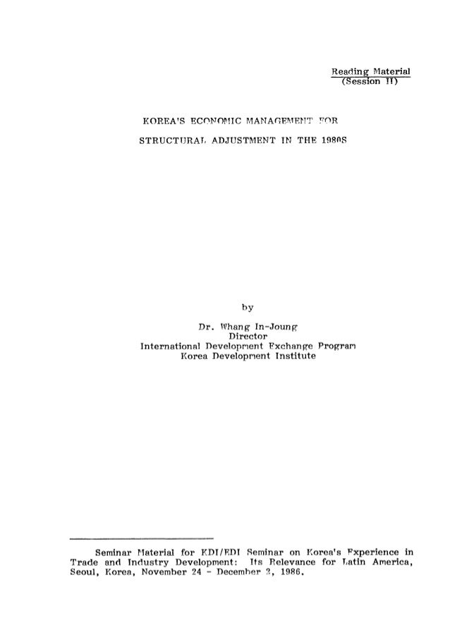 Korea's Economic Management for Structural Adjustment in the 1980s (Session 2)