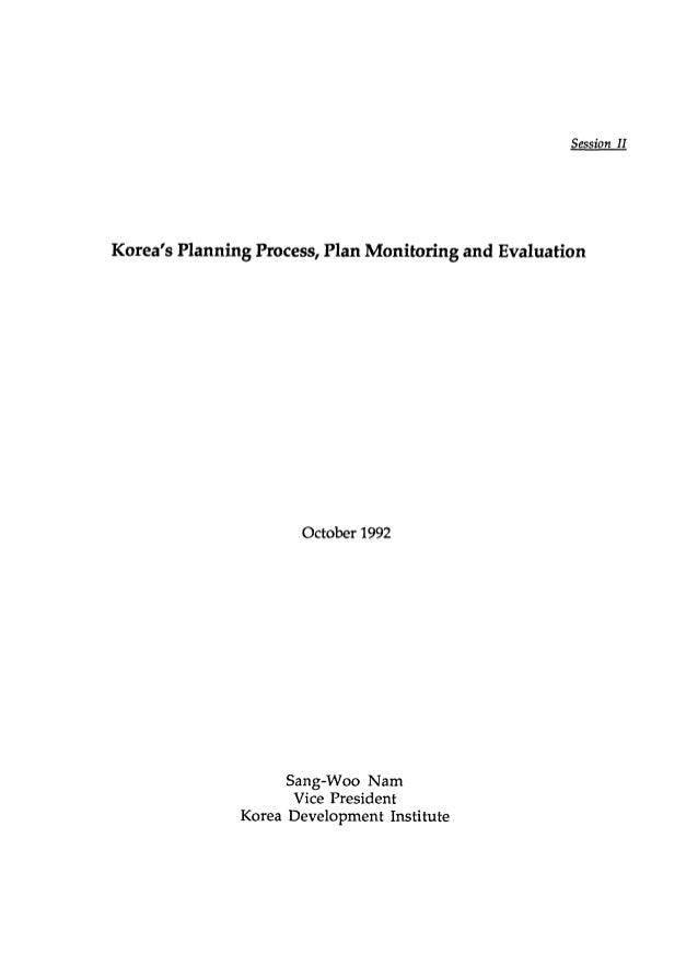 Korea's Planning Process, Plan Monitoring and Evaluation