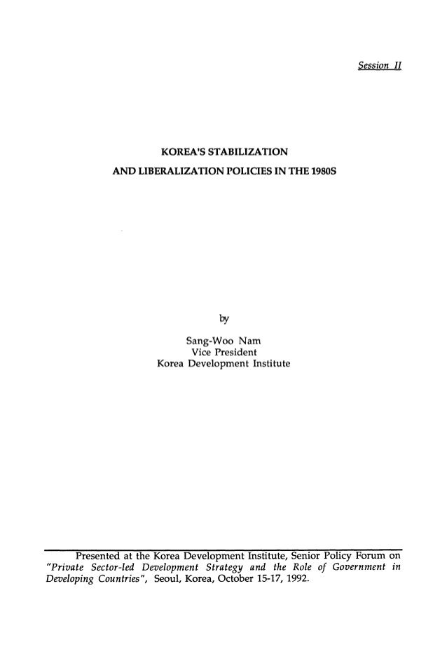 Korea's Stabilization and Liberalization Policies in the 1980s (Session 2)