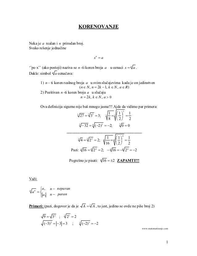 KORENOVANJENeka je a realan i n prirodan broj.Svako rešenje jednačine                                                     ...