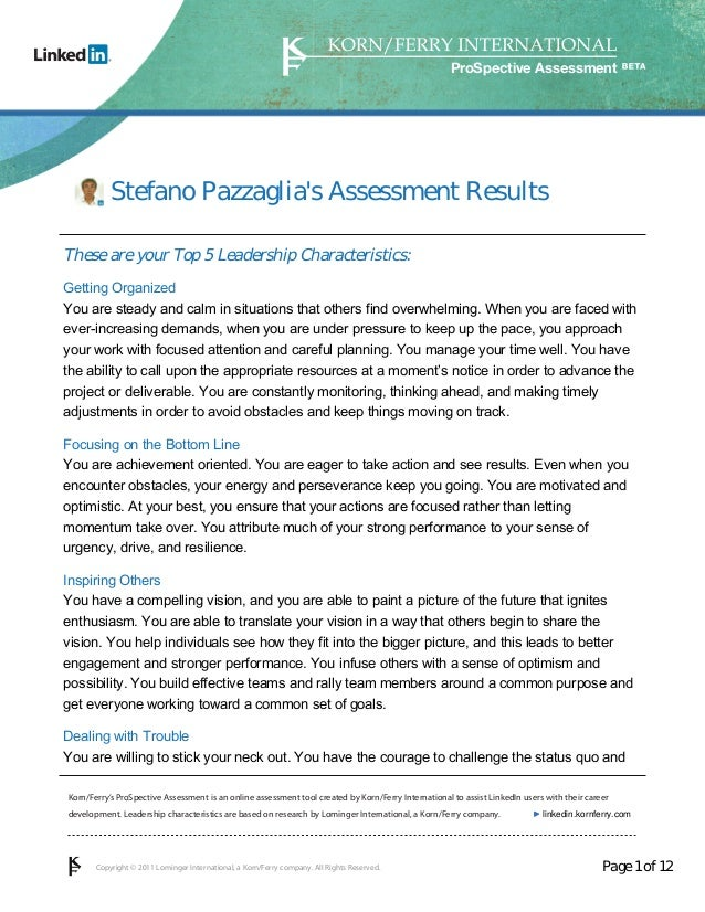 ProSpective Assessment           Stefano Pazzaglias Assessment ResultsThese are your Top 5 Leadership Characteristics:Gett...