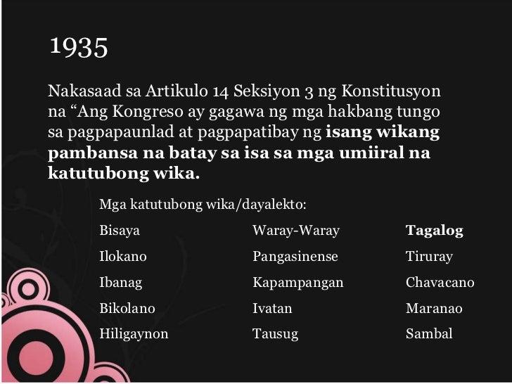 timeline ng wikang pambansa Wikang filipino has 6 ratings and 0 reviews: published 2005 by rex book store, inc, 187 pages, paperback.