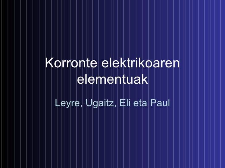 Korronte elektrikoaren elementuak Leyre, Ugaitz, Eli eta Paul