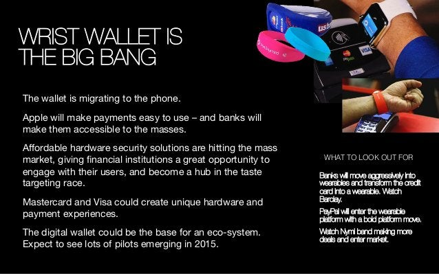 WRIST WALLET IS ! THE BIG BANG The wallet is migrating to the phone.  Apple will make payments easy to use – and banks wil...