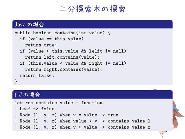 二分探索木の探索Java の場合public boolean contains(int value) {  if (value == this.value)    return true;  if (value < this.value && ...
