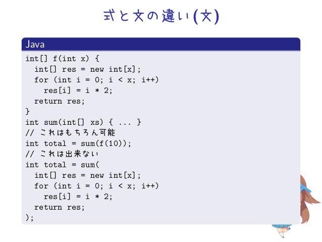 式と文の違い (文)Javaint[] f(int x) {  int[] res = new int[x];  for (int i = 0; i < x; i++)    res[i] = i * 2;  return res;}int s...