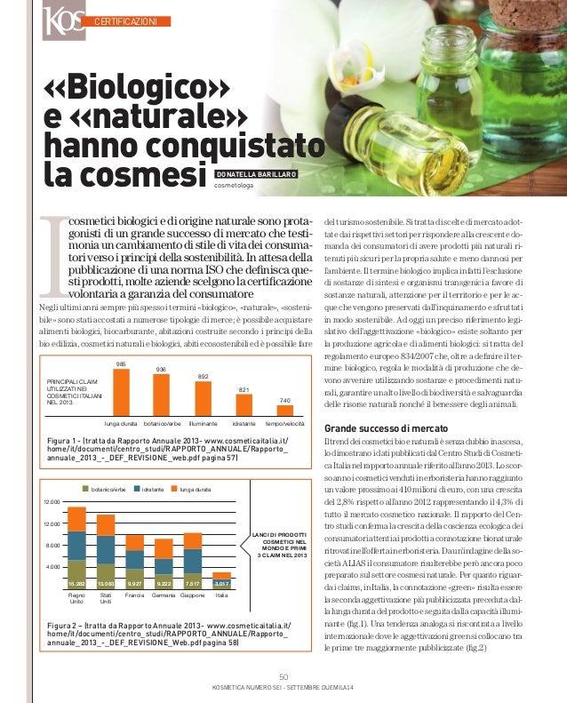 «Biologico»  e «naturale»  hanno conquistato  la cosmesi DONATELLA BARILLARO  Figura 1 - (tratta da Rapporto Annuale 2013-...
